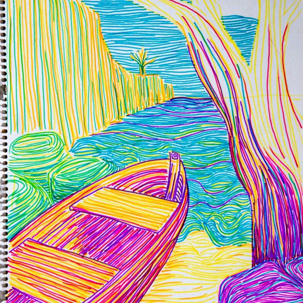 Drawing Lagun Bay in Curacao 1990