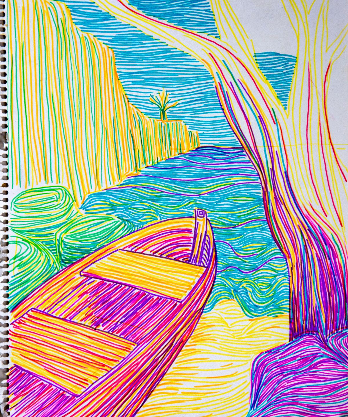 Drawing Lagun Bay in Curacao