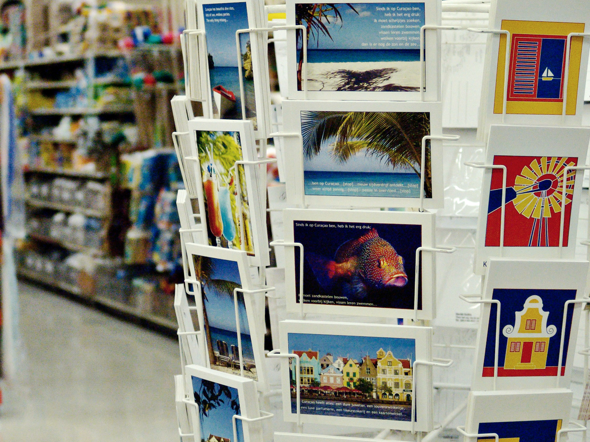 Postcards at supermarket Centrum Mahaai