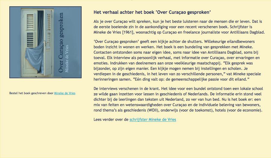 Book about Curaçao by Mineke de Vries