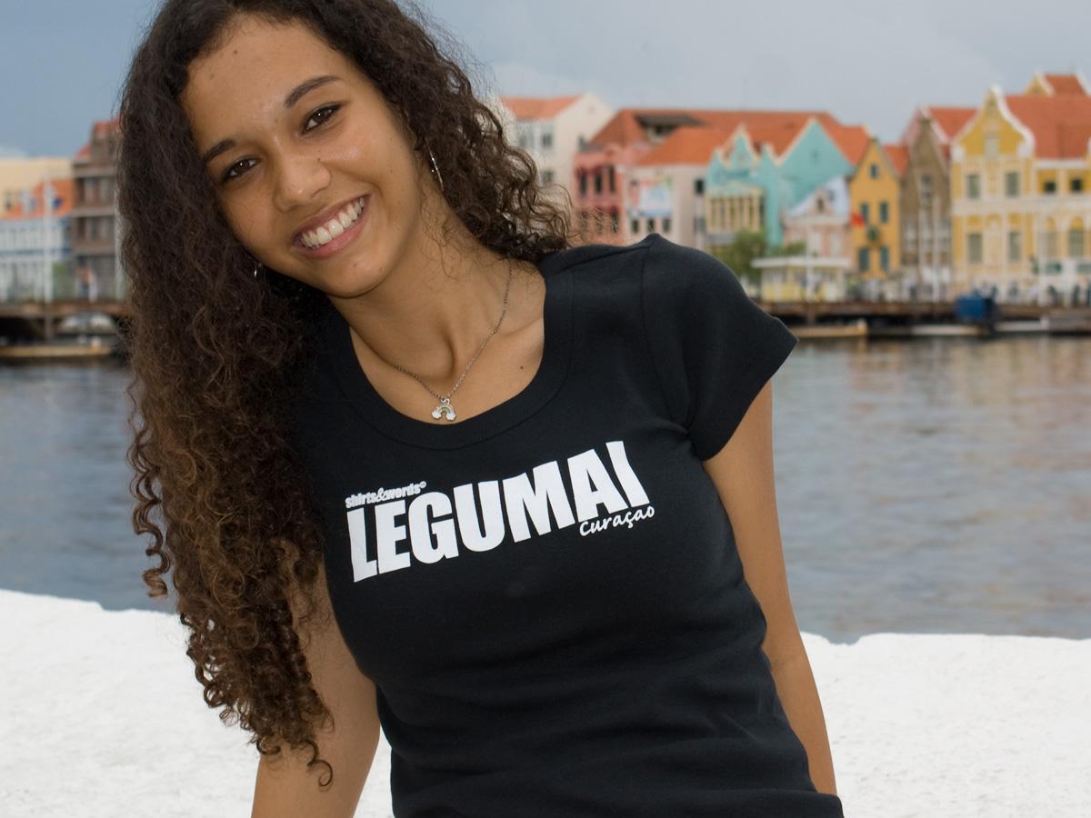 Girl wearing a legumai shirt