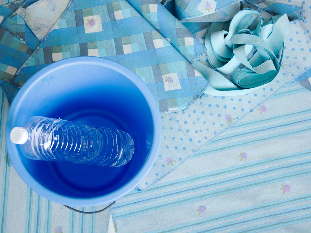 vinegar, bucket and handpainted fabric
