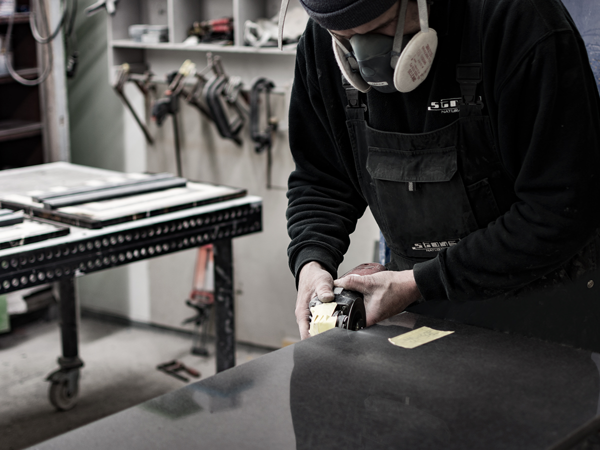 craftsman in stone workshop