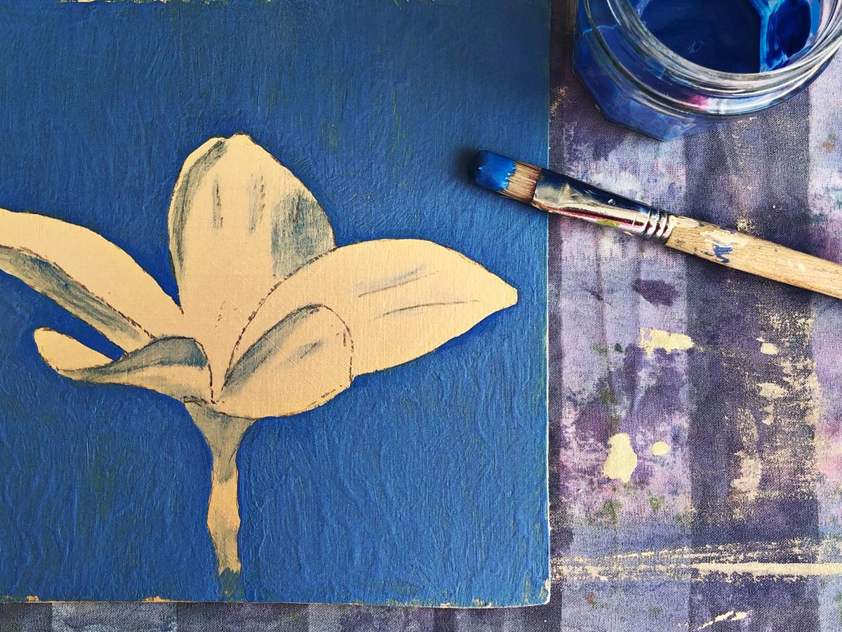 woodpanel blue posterpaint