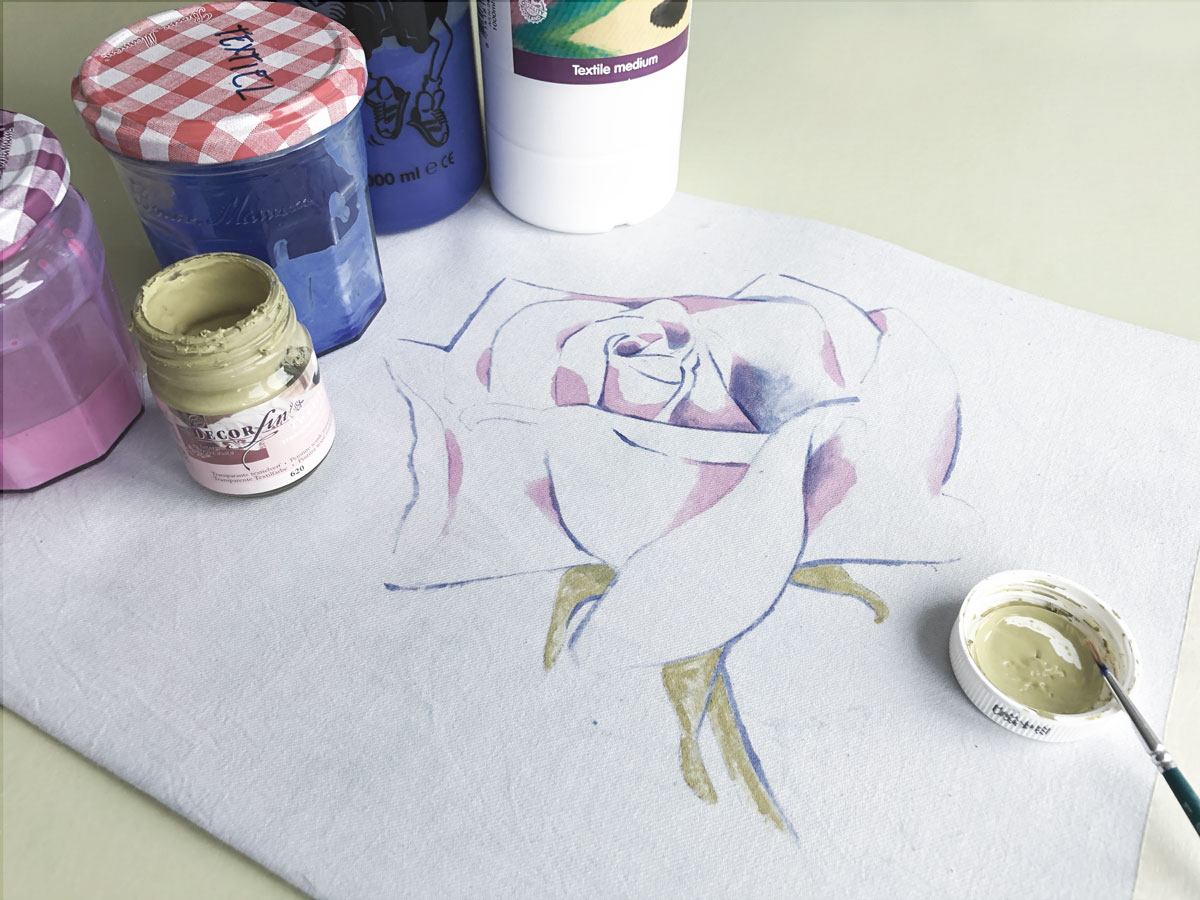 Fabric Painting Rose Pink with blue strokes