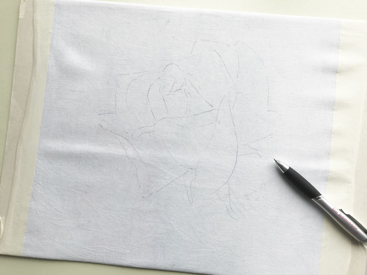 Fabric Painting Rose Pink drawing