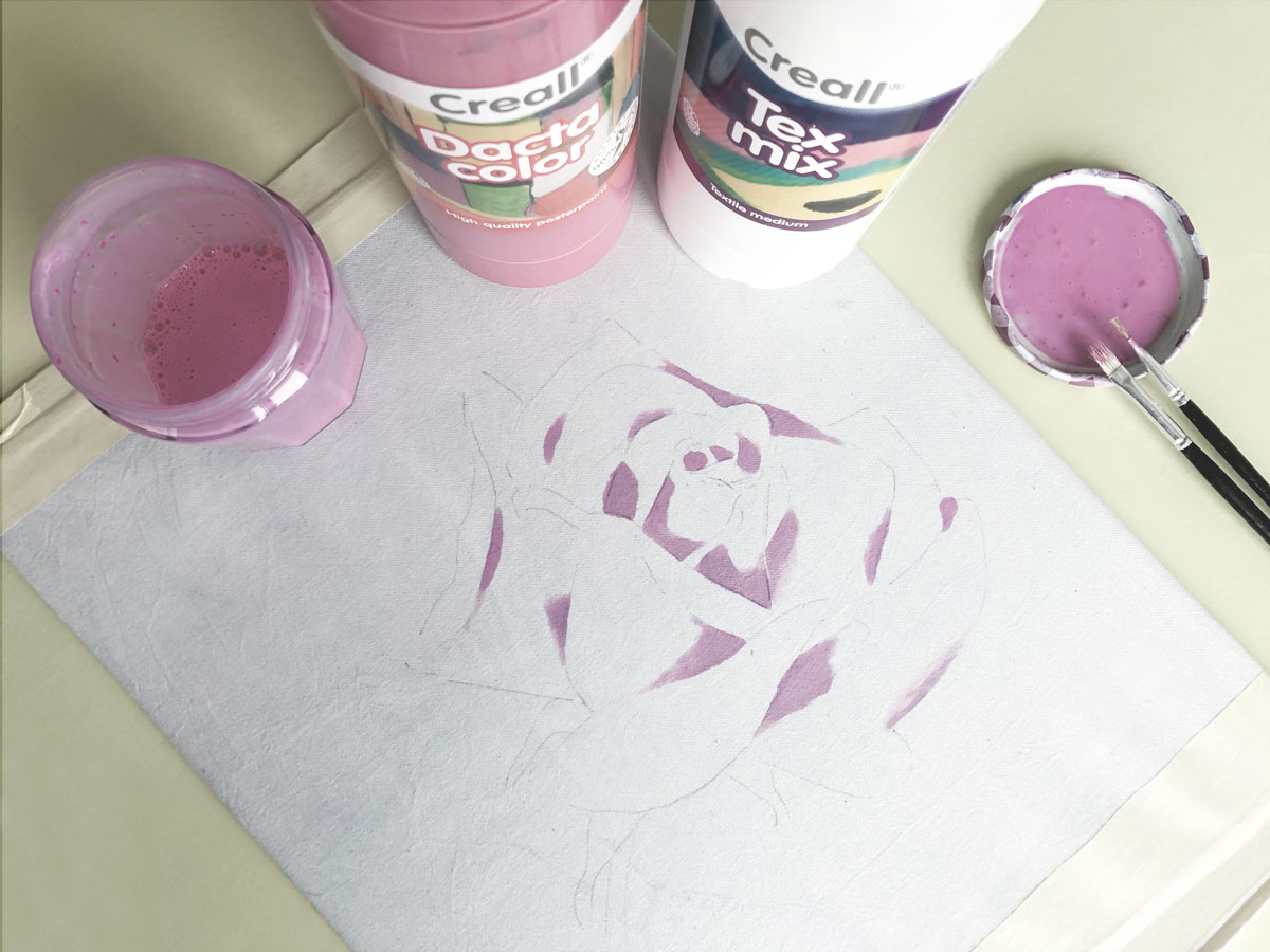Fabric Painting Rose Pink first-layer