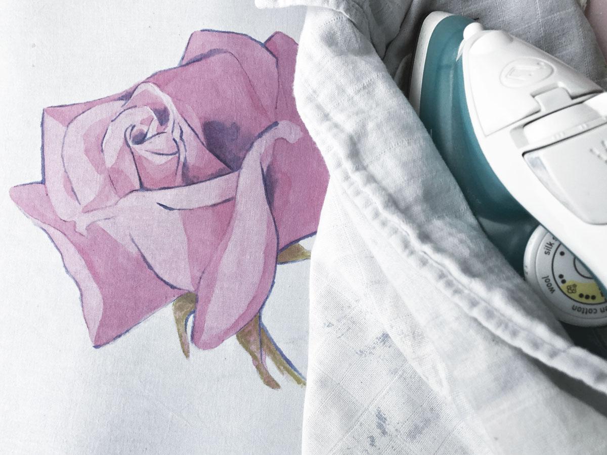 Fabric Painting Rose Pink iron