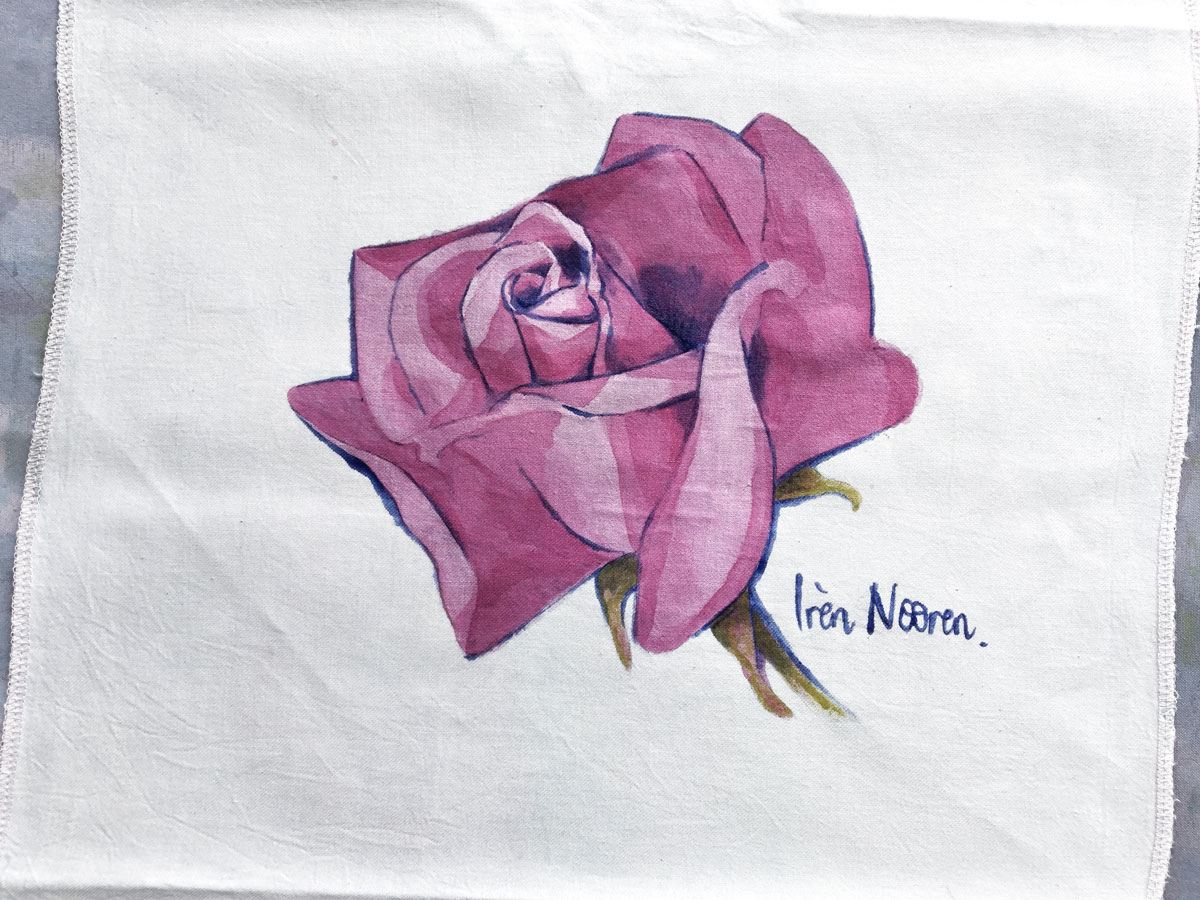 Pink Rose painted on fabric