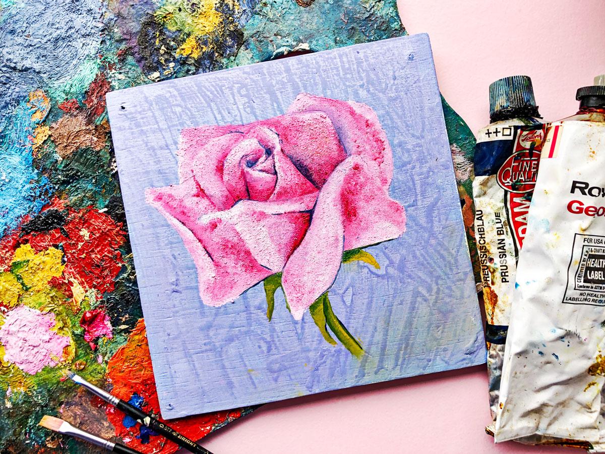 Wood panel painting Pink Rose