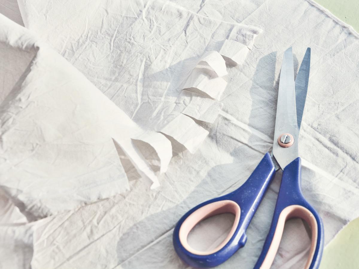cutting cotton strips