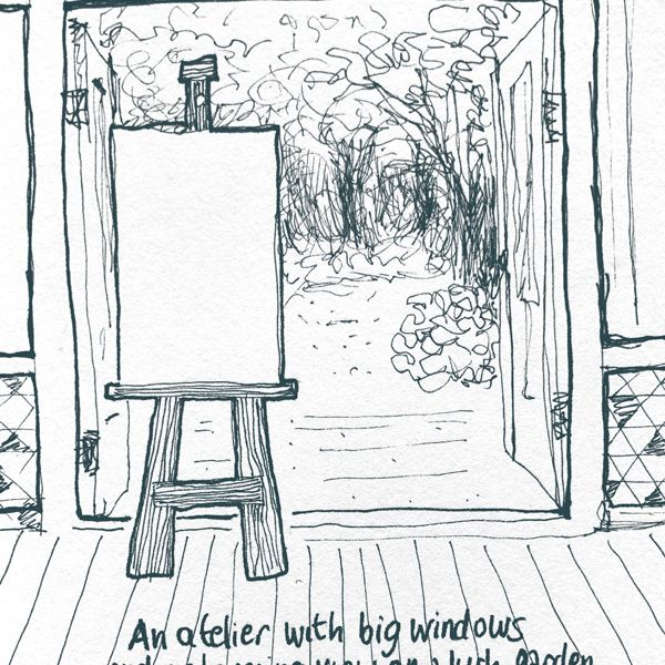 Atelier with a garden view