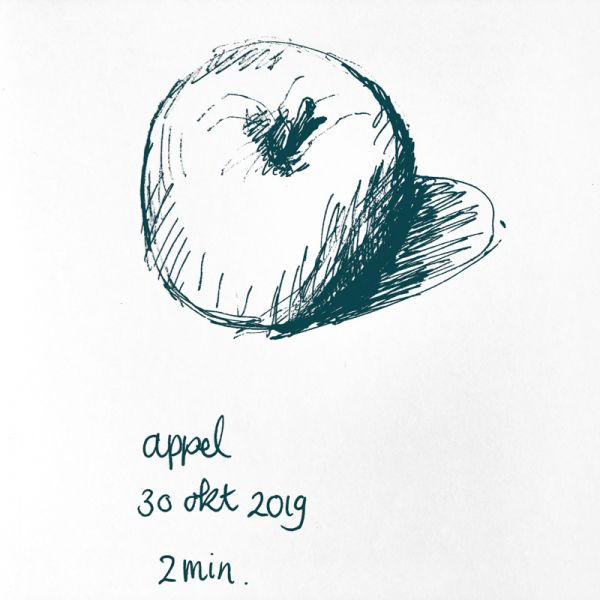 pen drawing apple