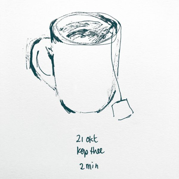drawing cup of tea