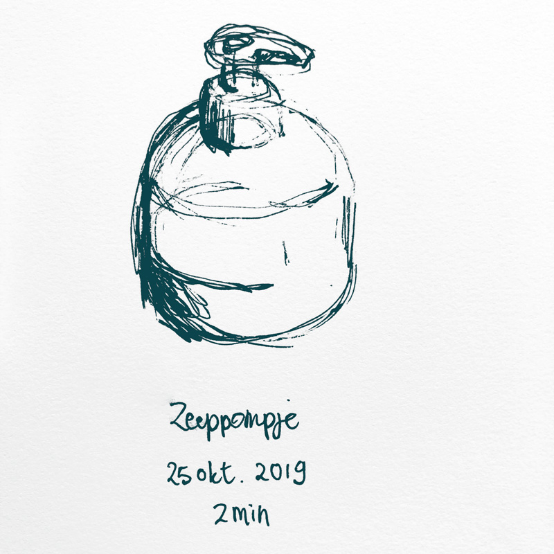 drawing hand soap pump bottle