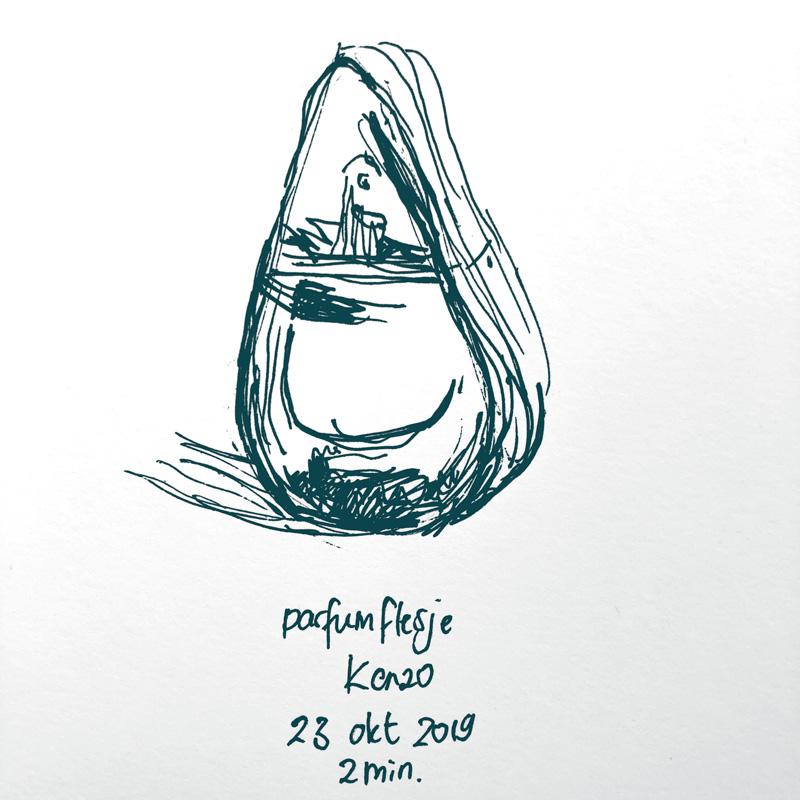 Drawing kenzo perfume bottle