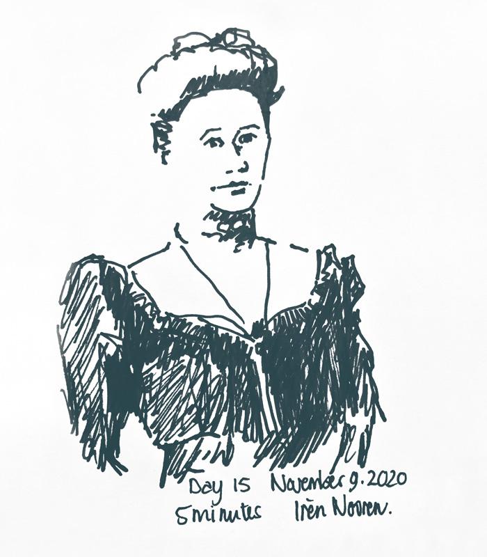 Pen drawing Great-grandmother-20201109