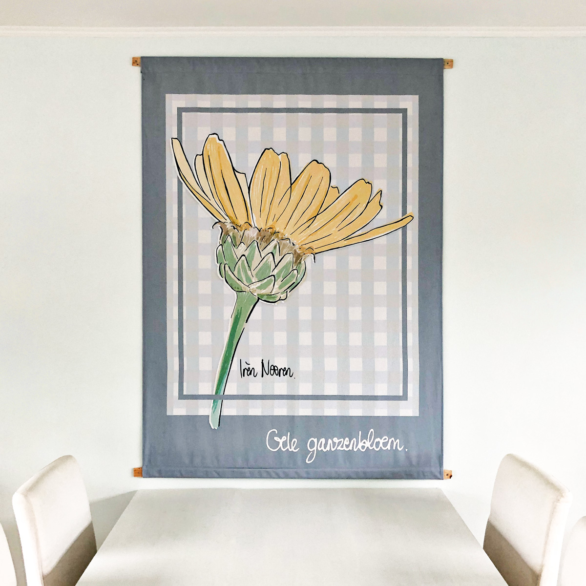 Corn daisy printed on a wall tapestry