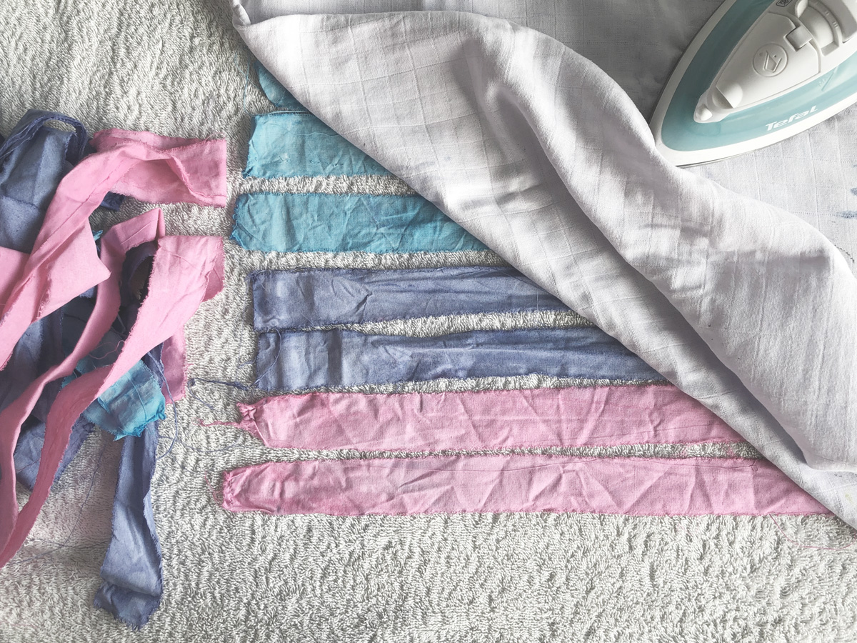 Dyed strips in pink, purple and blue