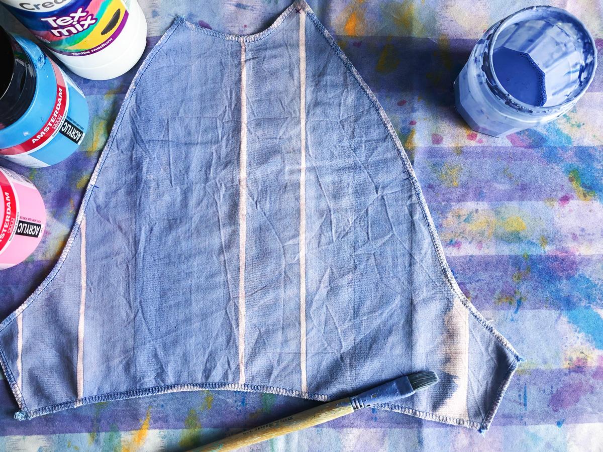 Sleeve part, acrylic paint and textile medium
