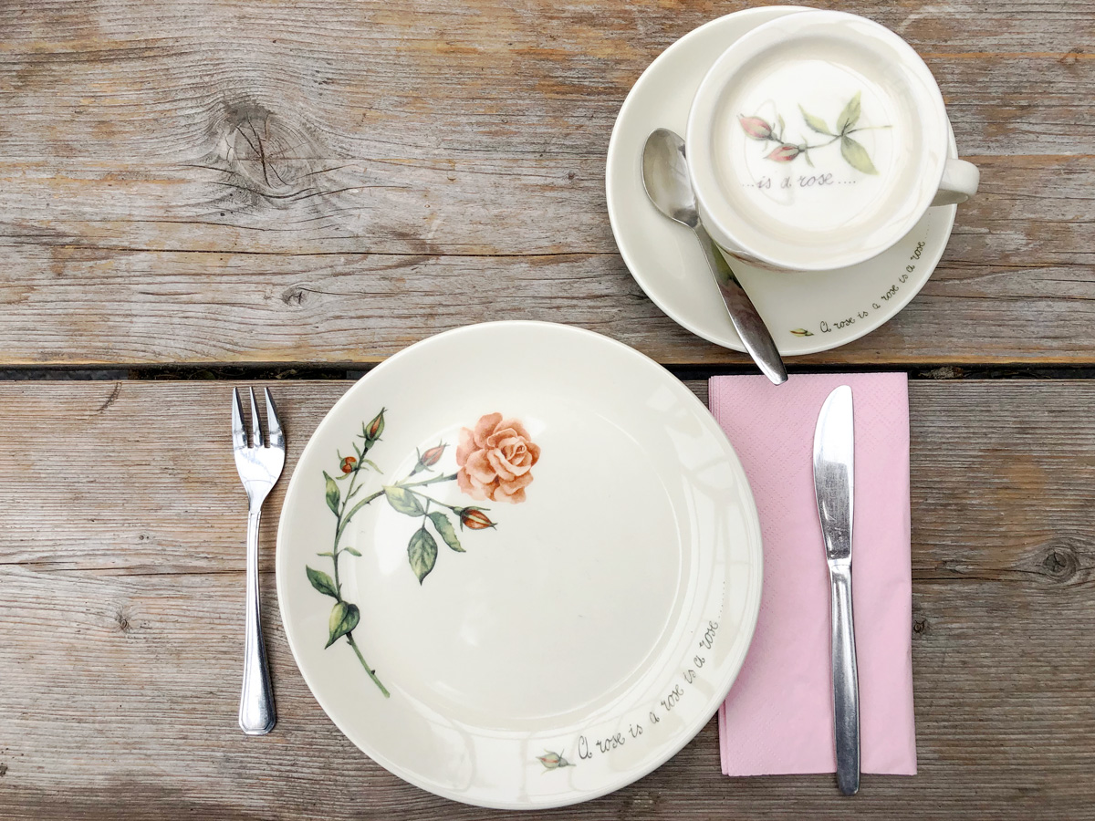 plate, saucer and cup with roses